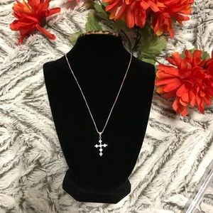 Cross Necklace w/ 6 stone 925 italy silver